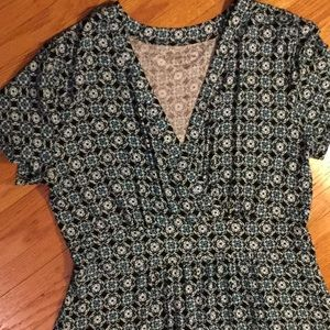 Croft & Barrow green blue print dress medium